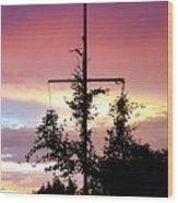 Cape Ann Sunset Silhouettes Wood Print