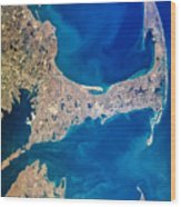 Cape Cod And Islands Spring 1997 View From Satellite Wood Print