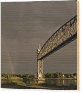 Cape Cod Train Bridge With Rainbow Wood Print