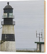 Cape Disappointment Lighthouse Closeup Wood Print