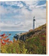Cape Elizabeth Maine - Portland Head Lighthouse Wood Print