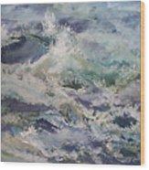Cape Elizabeth Wave Breaks Wood Print