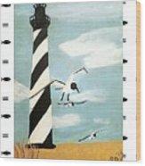 Cape Hatteras Lighthouse - Fish Border Wood Print