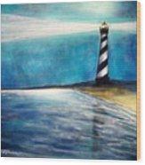 Cape Hatteras Lighthouse Night Glow Wood Print