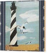 Cape Hatteras Lighthouse - Ship Wheel Border Wood Print