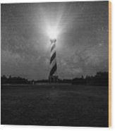 Cape Hatteras Light And The Milky Way Galaxy Wood Print