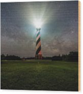 Cape Hatters Light House Stars Wood Print