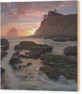 Cape Kiwanda At Sunset Wood Print