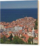 Cape Madonna At Point Of Piran Slovenia On Blue Adriatic Sea Wit Wood Print