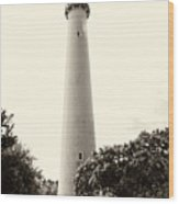 Cape May Lighthouse In Sepia Wood Print