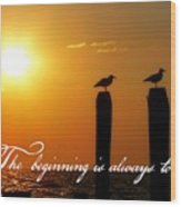 Cape May Morning Quote Wood Print