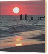 Cape May Nj Sunset, Philadelphia Beach Wood Print