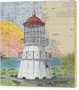 Cape Mendocino Lighthouse Ca Nautical Chart Map Wood Print