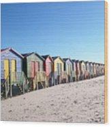 Cape Town Beachhuts Wood Print