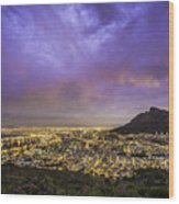 Cape Town From Signal Hill At Sunset Wood Print