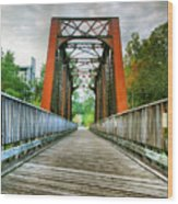 Caperton Trail And Bridge Wood Print by Steven Ainsworth