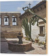 Capistrano Mission Courtyard Wood Print