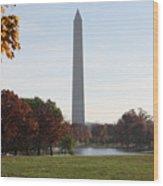 Capital Autumns - The Washington Monument - Under The Trees Wood Print