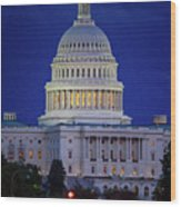 Capitol At Dusk Wood Print