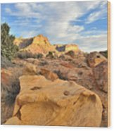 Capitol Reef Sunset Clouds Wood Print