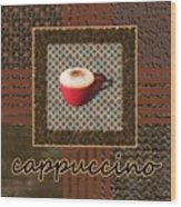Cappuccino - Coffee Art - Red Wood Print