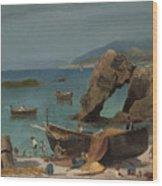 Capri Beach Wood Print