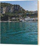 Capri Island Silky Smooth Emerald And Aquamarine Wood Print