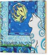 Capricorn Cat Zodiac Wood Print