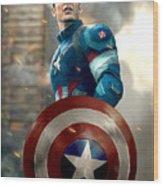Captain America - No Helmet Wood Print