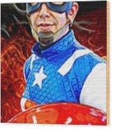Captain America Super Hero Wood Print