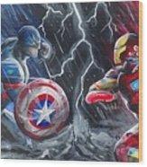 Captain American Vs Ironman Wood Print
