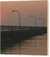 Captree Pier Dawn Wood Print