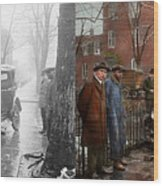 Car Accident - Watch For Ice 1921 - Side By Side Wood Print