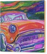 Car And Colorful Wood Print by Evelyn Sprouse Rowe