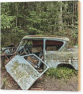Car Graveyard In Smaland Wood Print