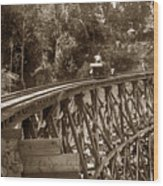 Car On A Wooden Railroad Trestle Circa 1916 Wood Print