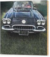 Car On The Grass Wood Print