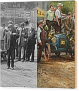 Car - Race - The End Of A Long Journey 1906 - Side By Side Wood Print