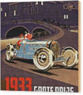 Car Racing Christmas Poster Of The 30s Wood Print
