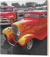 Car Show Fever - 54 Chevy With A 32 Ford Coupe Hot Rod Wood Print