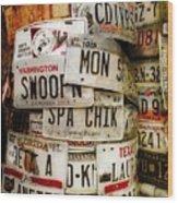 Car Tags Wood Print