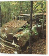 Car Wreck In The Forest Wood Print