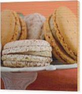 Caramel And Vanilla Macaroons Wood Print