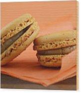 Caramel Orange Macarons Wood Print