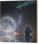 Caravel And Comet Wood Print