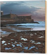 Fort In Carcavelos Beach Wood Print