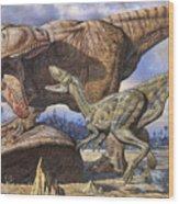 Carcharodontosaurus Guards Its Kill Wood Print
