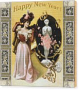 Card New Year Wishes Wood Print