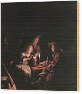 Card Players At Candlelight Wood Print
