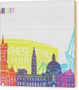 Cardiff Skyline Pop Wood Print